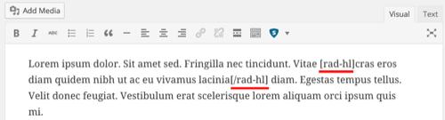 cara highlight tulisan dalam wordpress