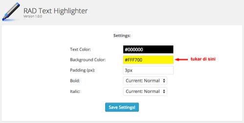tukar warna background tulisan dalam blog